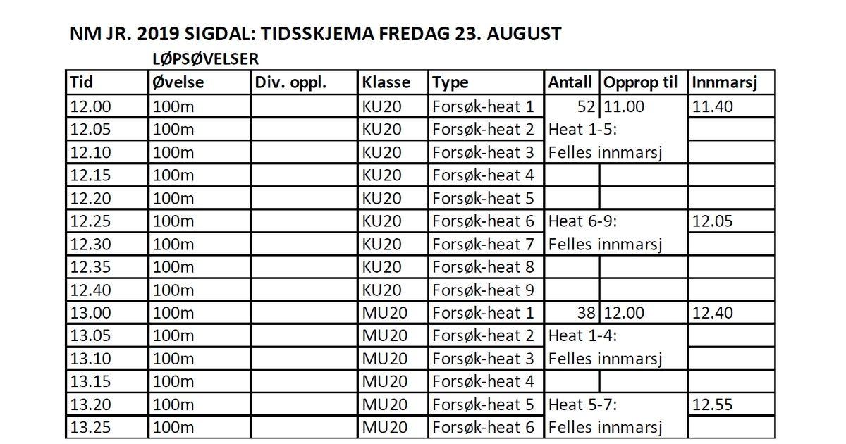 Endring av tidsskjema fredag 23. august
